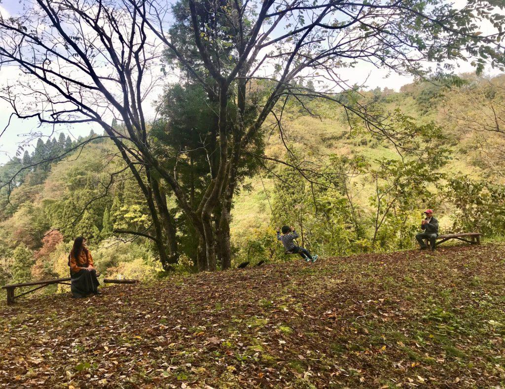 新潟県小千谷市の里山子育てひろば「木のこん」のブランコで遊ぶ男の子