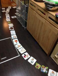 息子が並べたカード類