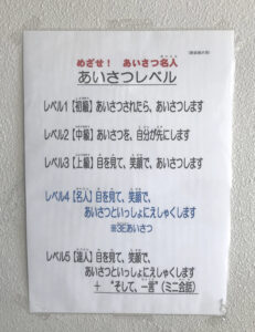 息子が通う小学校内に張ってあった「あいさつレベル」と題した掲示物